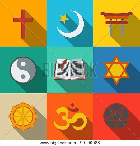 World religion symbols flat set - christian, Jewish, Islam, Buddhism, Hinduism, Taoism, Shinto, pent