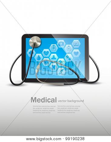 Tablet with medical icons and a stethoscope. Vector.