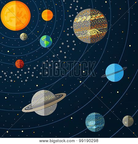 Illustration of a solar system with planets. Vector