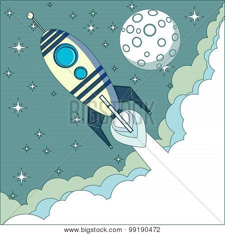 Space rocket flying in space with moon and stars on background print