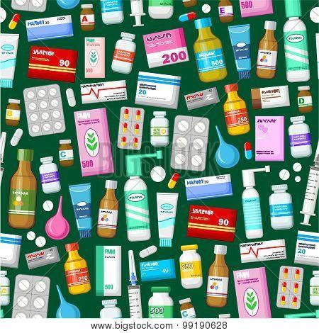 Medicine Tablets, Pills  And Vitamins Pattern.