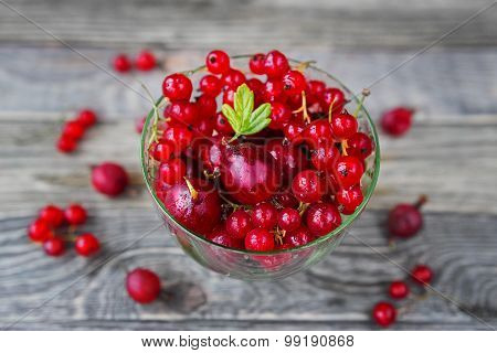 Bowl Full Of Gooseberries And Red Currant On A Wooden Table. Rustic Cozy Background.