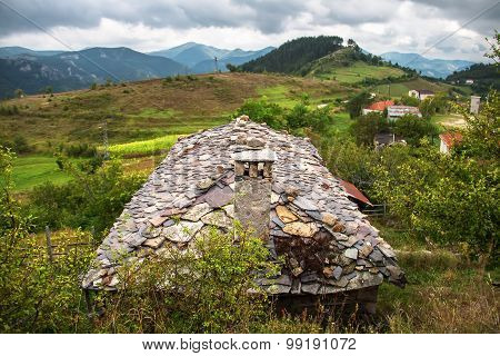 Stone rooftop of a mountain house