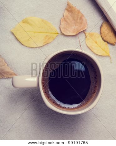 Autumn Mood. Cup Of Coffee And Leaves