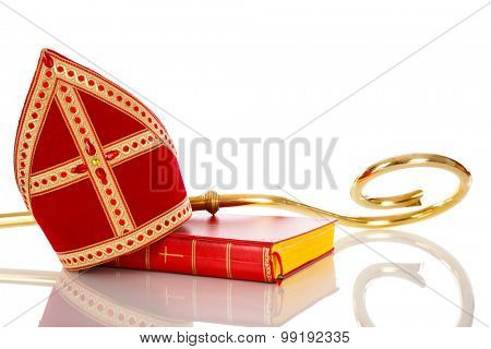 Mitre or mijter and staff of Sinterklaas. Isolated on white backgroud. Part of a dutch santa tradition
