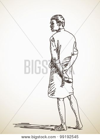 Indian man in lungi, Vector sketch, Hand drawn illustration