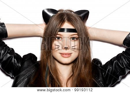 girl with leather cat ears