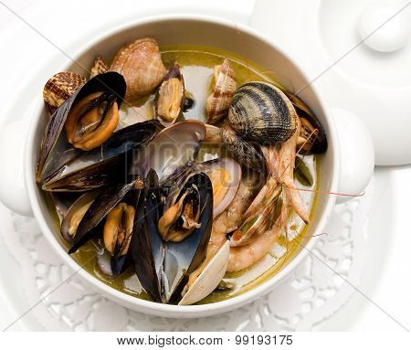 seafood soup in a plate Buzarra