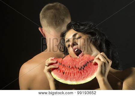 Couple With Water Melon