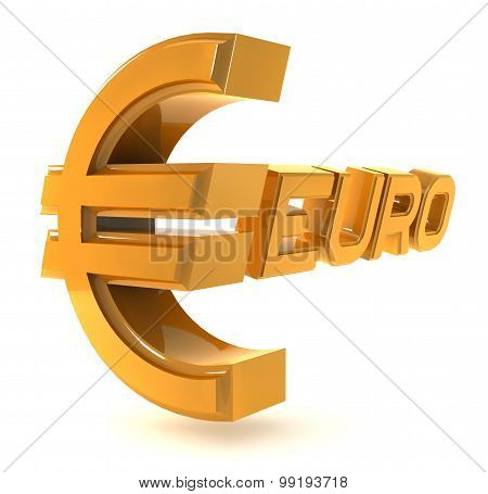 Gold emblem euro isolated on a white background