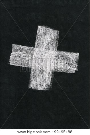 «plus +» Painted White Chalk On Black Paper