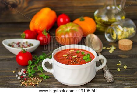 Homemade thick spicy tomato soup. Selective focus