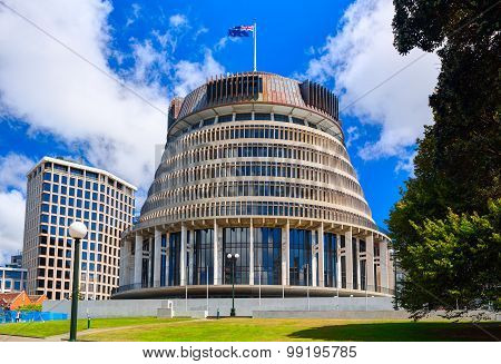 The Beehive and New Zealand Parliament building. Wellington city.