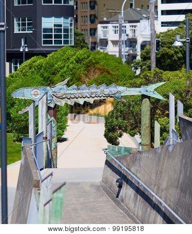 The fish bone wooden frame. Jervois Quay. Wellington city
