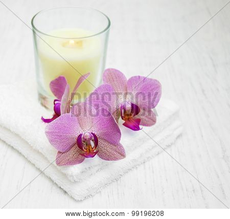 Pink Orchids And Towels