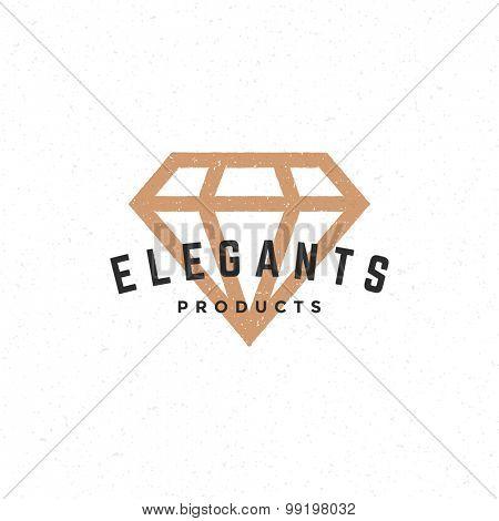 Diamond logo hand drawn vintage design element for labels, badges, stickers, emblems vector illustration.