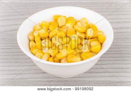 Canned Sweet Corn In Small Bowl On Table