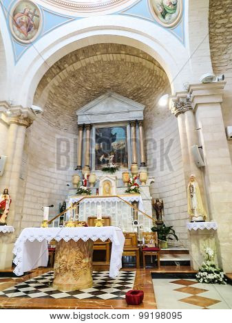 CANA, ISRAEL  July 8, 2015: The altar in the church of the first miracle