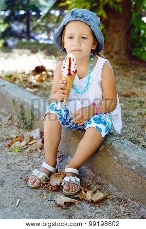 Cute Girl With Ice Cream