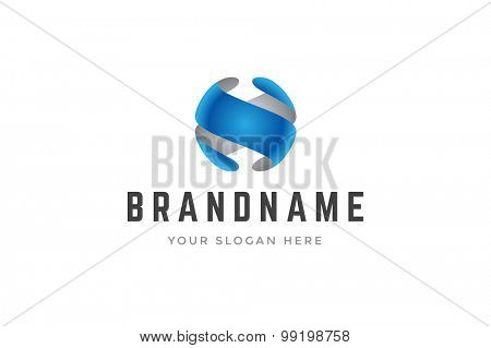 Abstract creative logo two 3d shapes forming sphere. Vector design element.