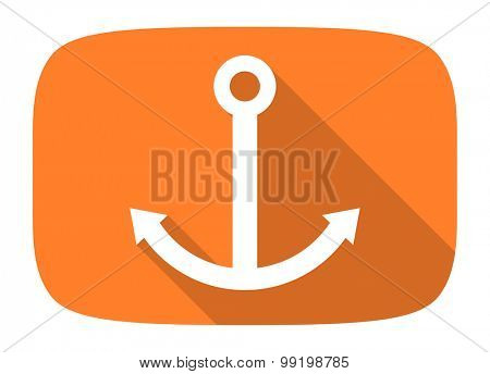 anchor flat design modern icon with long shadow for web and mobile app