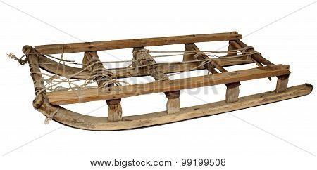 Wooden Vintage Retro Sledge Isolated On  White Background.