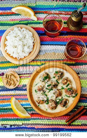 Moroccan Lemon Cardamom Meatballs With Rice
