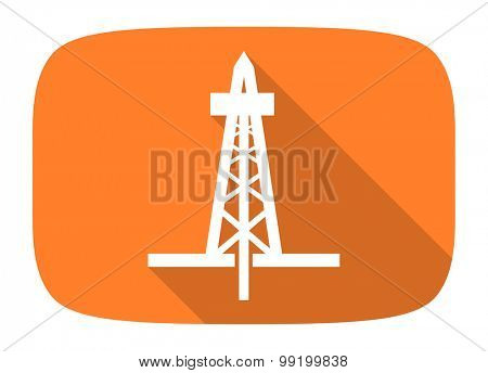 drilling flat design modern icon with long shadow for web and mobile app