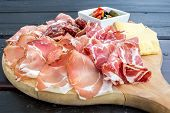 ������, ������: Typical Italian Appetizer With Salami Cheese And Pickles
