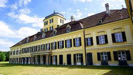foto of hughes  - historical building schlosspark laxenburg Austria with blue sky background - JPG