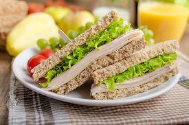 pic of fresh slice bread  - Back to school sandwich simple sandwich whole grain bread salad ham and cheese - JPG