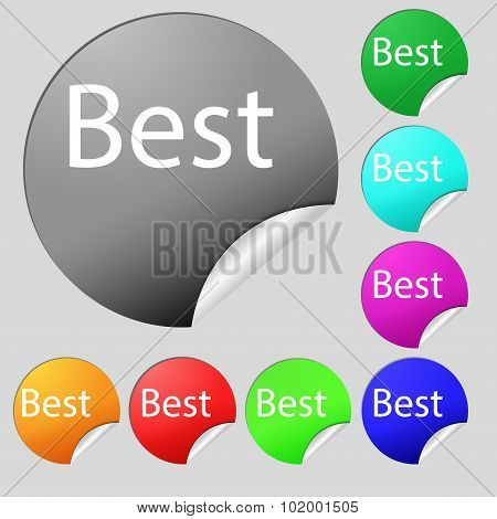Best Seller Sign Icon. Best-seller Award Symbol. Set Of Eight Multi Colored Round Buttons, Stickers.