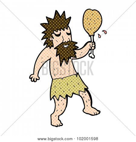 comic book style cartoon cave man