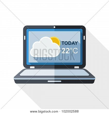 Laptop Icon With Weather Widget On The Screen And Long Shadow On White Background