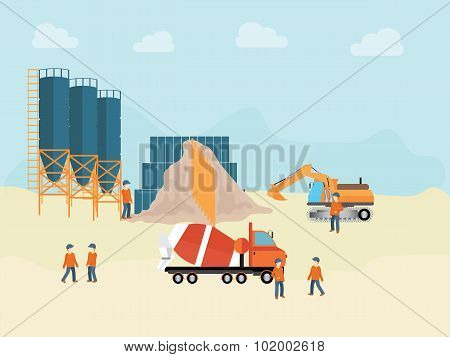 Industrial Cement Processing Plant With Man Worker.
