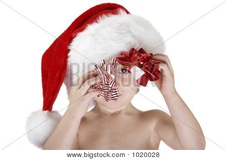 Santa Child With Christmas Bows