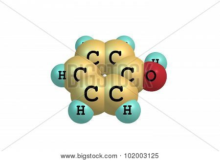 Phenol molecular structure isolated on white