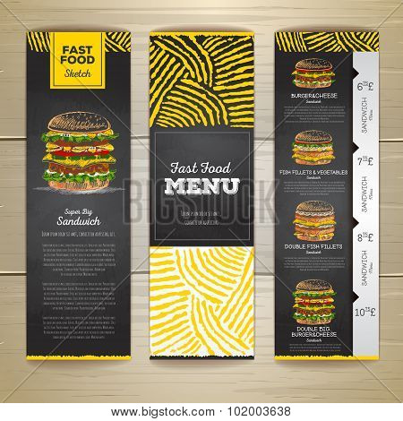 Set Of Vintage Chalk Drawing Fast Food Menu Banners. Sandwich Sketch