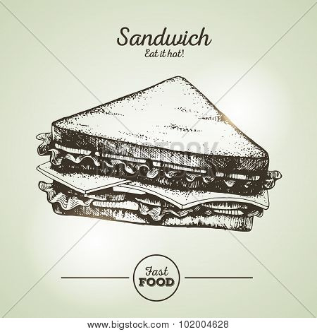 Vintage Fast Food Sandwich Sketch