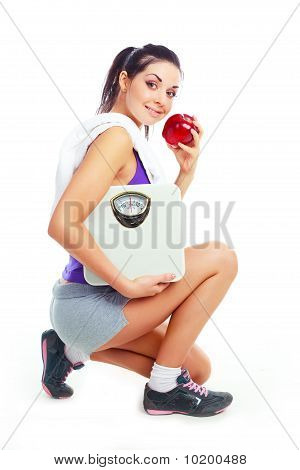 Girl With Scales And Apple