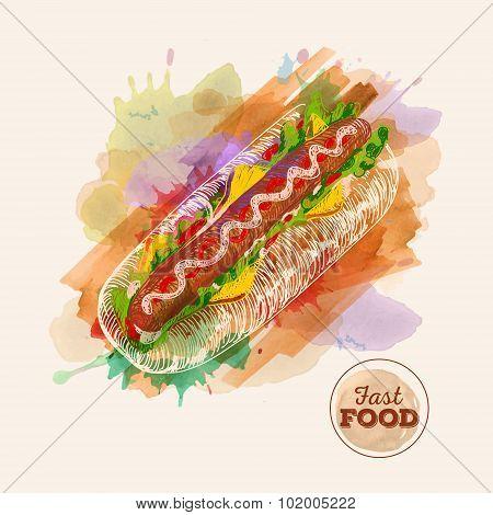 Watercolor Hamburger Or Sandwich. Fast Food Sketch