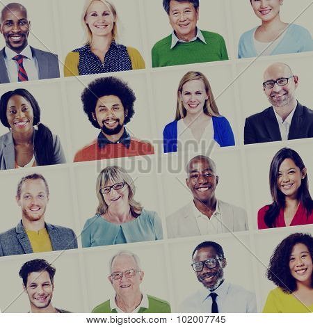 Portrait of Multiethnic Colorful Diverse People Concept