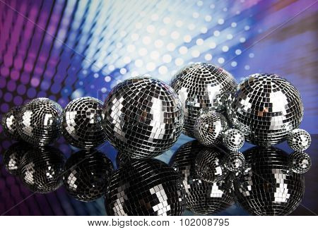 Disco Balls, sound waves and Music background