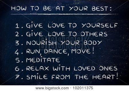 How To Be At Your Best, Motivational List