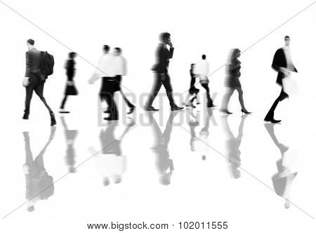 Business People Rush Hour Walking Commuting Concept