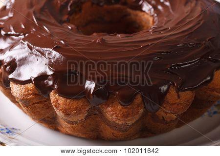 Chocolate Cake Fancy Bread On A Plate Macro. Horizontal