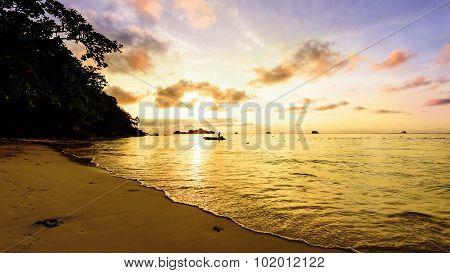 Golden Light On Sky Over The Sea