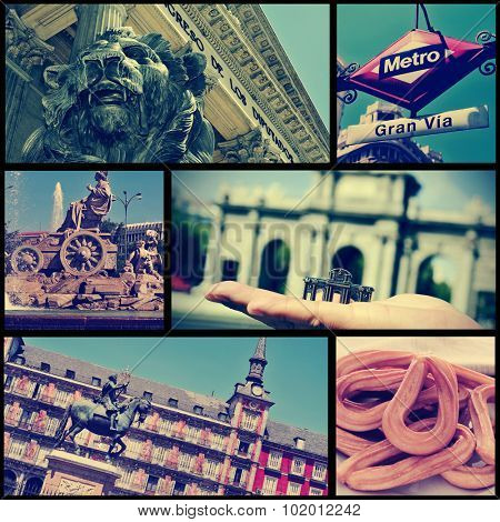 a collage of some pictures of different landmarks in Madrid, Spain, such as the Puerta de Alcala, the Plaza Mayor square or the Plaza de Cibeles square, cross processed