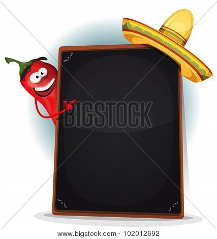 Tex Mex Menu With Chili Pepper And Sombrero