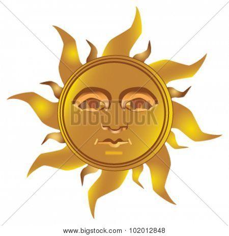 Mayan - Inca type of golden sun , fully vectorized